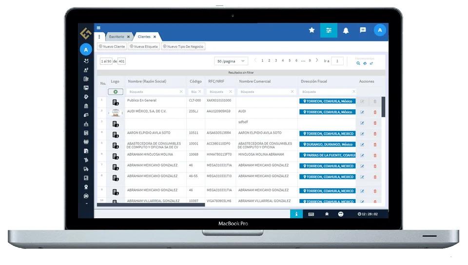Evidence Technology - Vista de clientes