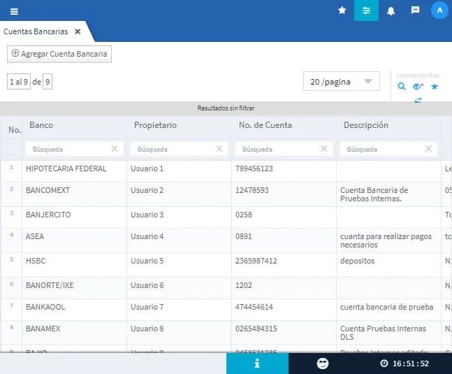 Evidence Technology - Vista Cuentas Bancarias